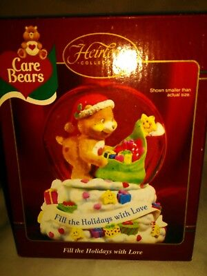 Carlton Cards Care Bears Snow Globe Fill the Holidays w/ Love 2003 NIB Heirloom