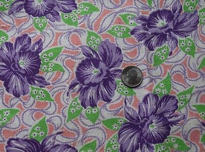 Large piece vintage cotton printed feed sack, large purple orchids, bows
