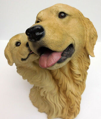 Living Stone Golden Retriever And Pup Bust,  Item  73103