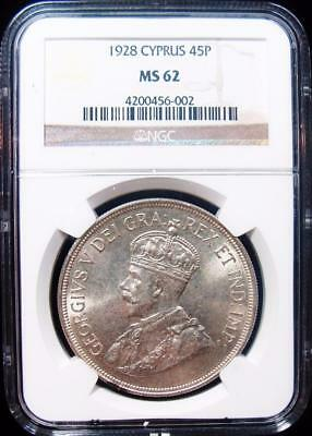 Cyprus: British Colony. George V 45 Piastres 1928 MS62 NGC.