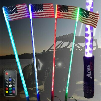 5ft Deluxe 200 Color Combo LED Lighted UTV Whip w// American Flag Quick Connect