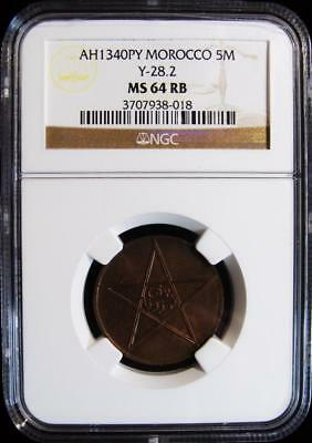 Morocco: Yusuf 5 Mazunas AH 1340 (1921) MS64 Red and Brown NGC.