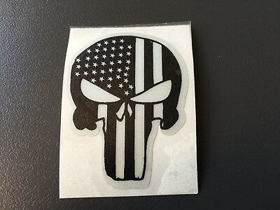 Sticker Retro Reflechissant Punisher Usa Casque Moto Scooter Quad