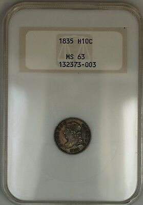 1835 Capped Bust Silver Half Dime 5c Coin Old NGC Holder Raised Logo MS-63 Toned