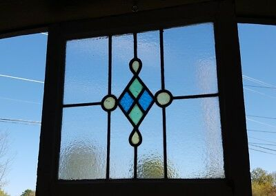 Set Of (2) Matching Gothic Mansion Antique Leaded Stained Glass Transom Windows