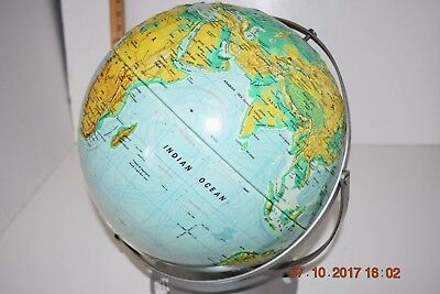 """World globe 1950-60's metal stand 12""""  A.J. Nystrom Sculptural Relief Globe"""