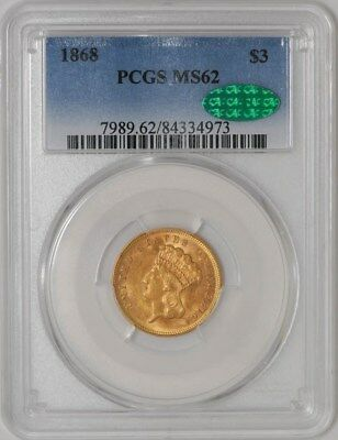 1868 $3 Gold Indian MS62 PCGS ~ CAC