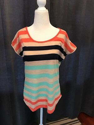 Robins Nest Striped With Lace Maternity Top M
