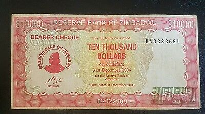ZIMBABWE $10,000 Dollar, P22-C, 2004 ***WITHOUT GOVERNOR NAME** Bearer Cheque