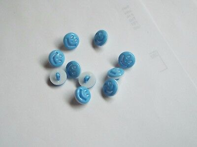 10pc 13mm Sky Blue Smiley Face Kids Baby Children Loop Back Button 1553