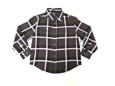 Faded Glory Boys Size 8 Brown, Blue and White Plaid Flannel L/S Shirt