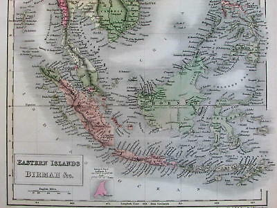Southeast Asia Thailand Vietnam Laos Cambodia Indonesia China 1853 Hall old map