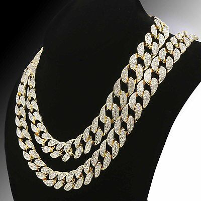 """Iced Out 14k Gold PT 15mm 8.5"""" - 36"""" Miami Cuban Choker Chain Necklace+Earrings"""