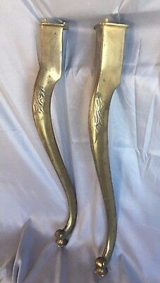 Pair  Brass Marble Sink Cabriole Legs Support Old Vintage Bath Console  262-17J