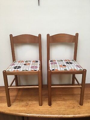 Pair Of Vintage Retro Recycled Recovered Timber Chairs