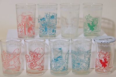 The FLINTSTONES Jelly Glasses Welch's 1962-1964  Fred Barney Wilma  9 Different