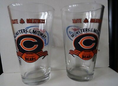 Two Miller Lite Monsters of the Midway Pint 16 Ounce Beer Glasses Chicago Bears