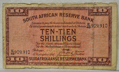 Pick 82d 10 Ten-Tien Shillings 1941 South African Reserve Bank VG
