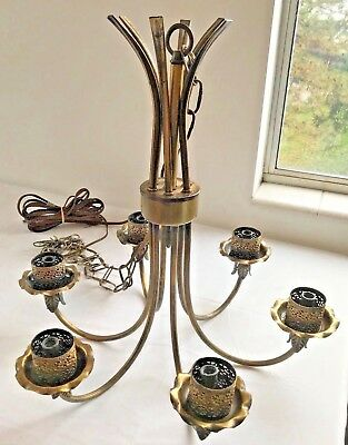Mid-Century Vintage Brass Chandelier 6 Light Capacity With Chain WORKS!