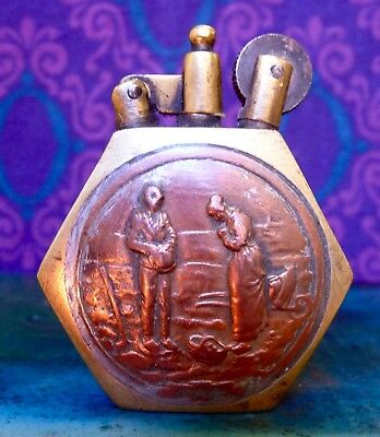 Vintage antique WW1 working brass and copper trench art lighter Joan of Arc