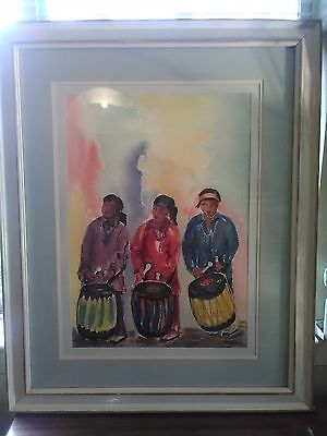 New Mexico Native American Watercolor Signed Original Painting Vtg Authentic