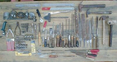 Vintage Variety Lot of 80+ Old Rusty Used Woodworking Hand Tools Lot