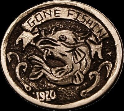 "Hobo Nickel ""Gone Fishin"" carved by Christopher Scott"
