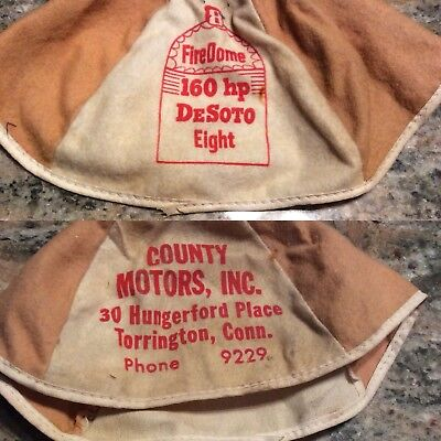 vintage firedome desoto eight advertising beanie Torrington Ct Conn