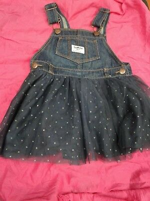 Pre-owned  Oshkosh, Baby Girls Denim and Tulle Jumper  Dress Size 2T