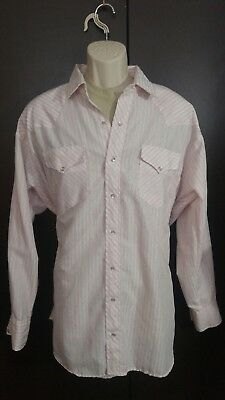 Vintage Ruddock Western style pearl snap front shirt big man pink stripes