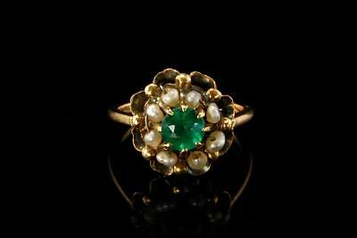 Antique Early Victorian Emerald Paste Seed Pearl 585 14K Gold Ring (09171750)