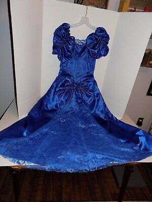 Vintage 1980's Prom/Bridesmaid Gown-Blue Satin and Lace Lot #10