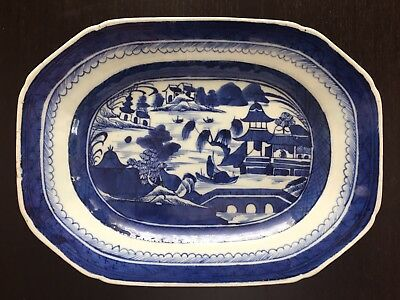 Fine Antique Early 19th C Chinese Canton Export Blue White Porcelain Plate NICE