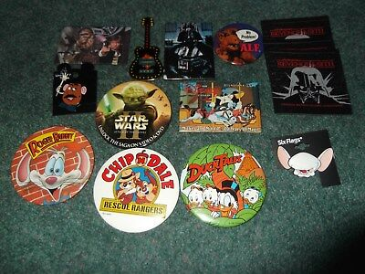 Vintage Six Flags Pins Magnets Disney Duck Tales Star Wars Pinky and the Brain