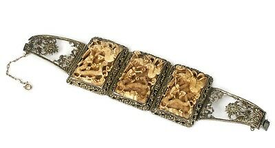 antique Chinese silver filigree wedding Bracelet with carved pai gow tiles
