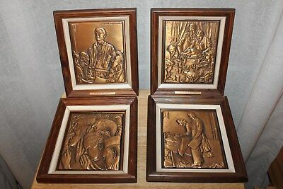 Norman Rockwell - Set of (4) of the Four Freedoms Solid Bronze Plaques