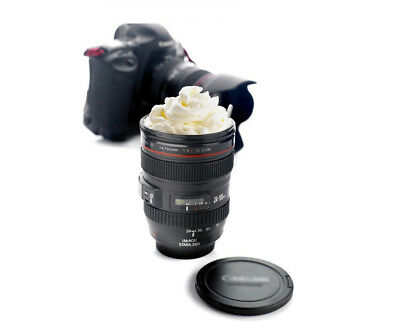 Gift Camera Lens Stainless Steel Cup Coffee Tea Travel Mug Thermos & Lens Lid