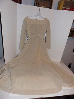 Vintage 1970's Gold Sparkle Formal Gown Dress Union Made Lot #39