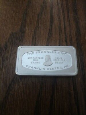 The Franklin Mint Guaranteed 1000 Grains 925 Sterling Silver Bar 1972