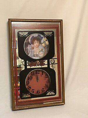 Vintage Coca Cola Hanging Mirror Wall Clock With Victorian Girl Wood Framed Sign
