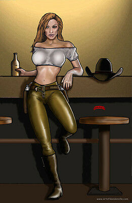 Wanna Drink cowgirl sexy gunslinger saloon comics 11x17 signed print Dan DeMille