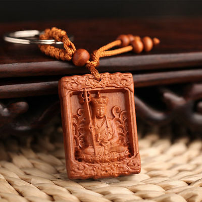Ksitigarbha Dizang Statue Wood Carving Chinese Wooden Pendant Key Chain Key Ring