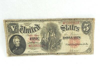 "1907 $5 ""woodchopper"" United States Note ""star"" Ultra Rare Tehee-Burke"