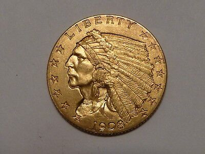 1908 $2 1/2 Gold Indian Quarter Eagle- Very Nice Coin ---  Collectors --- Look