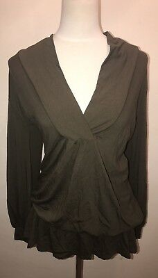 Olian Maternity Top Olive Shawl Collar Size S NWT