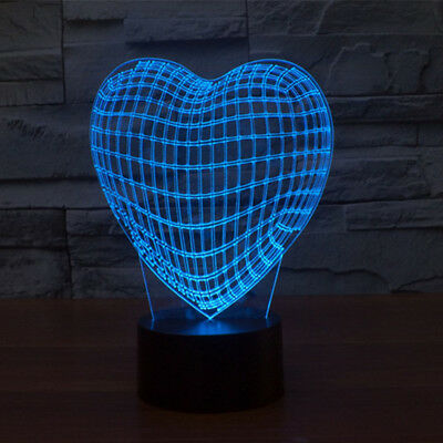 Love Heart Amazing 3D Optical Illusion Touch Botton LED Night Lights Lamp gift
