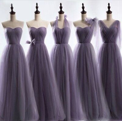 2018 Long Chiffon Lace Evening Formal Evening Party Prom Bridesmaid Dresses Size