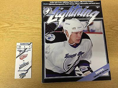 NHL 1993/94 Tampa Bay Lightning V Detroit Red Wings Game Day Programme + Ticket