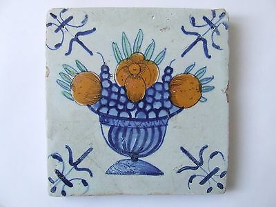 Very RARE Dutch Delft tile with Fruit-Dish 17th C.