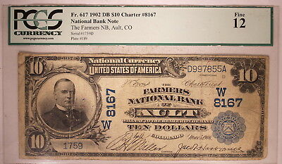 1902 US $10 National Banknote, Date Back, Ault Colorado, Census: 4L, PCGS 12